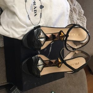 Good condition Prada jewel strapped heels.